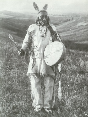 Native Drum held by Old Bear Dog
