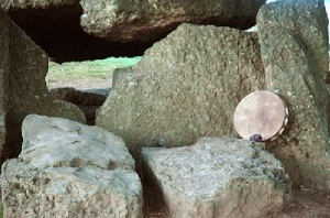 Buffalo Shaman Drum at Wéris Megalithic Tomb in Belgium