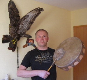 Shaman with Buffalo Drum in Germany