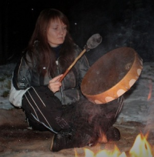 Shaman with Buffalo Drum in Norway